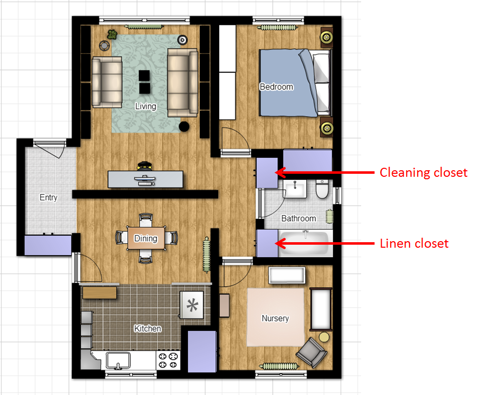 Cleaning and linen closets on floorplan