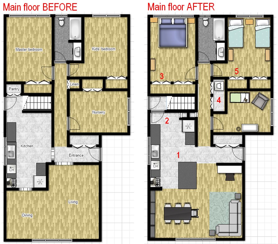 Main floor BEFORE and AFTER